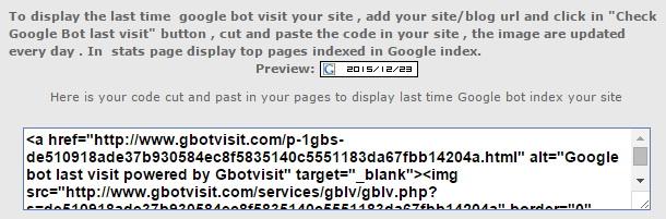 Code for Googlebot Last Visited Data Checker