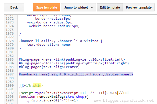 Edit HTML Code to Hide Blogger Navbar