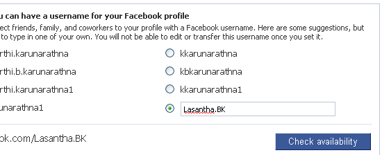 Facebook Username Check availability