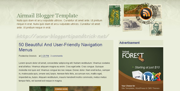 Airmail Premium Blogger Template