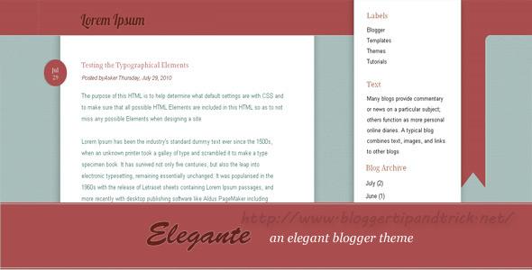 Elegante Premium Blogger Template
