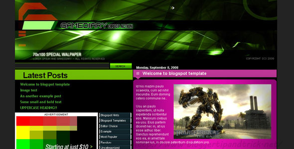 Gamediary Blogger Template