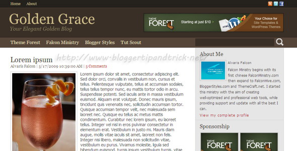 Golden Grace Premium Blogger Template