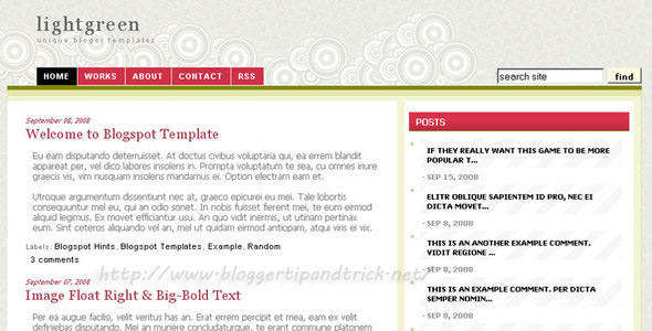 Light Olive Green Blogger Template