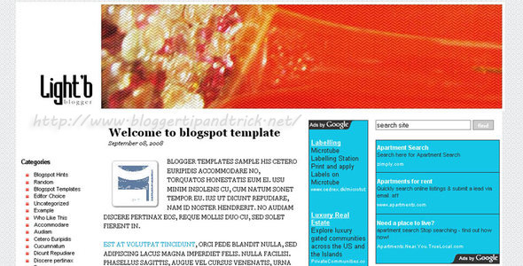 LightB Blogger Template