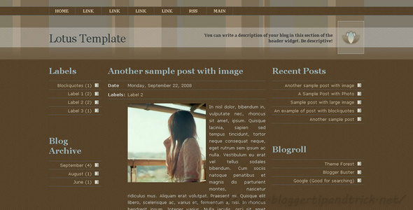 Lotus Premium Blogger Template