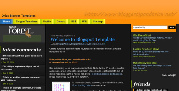 Orlac Blogger Template