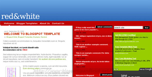 RedWhite Blogger Template