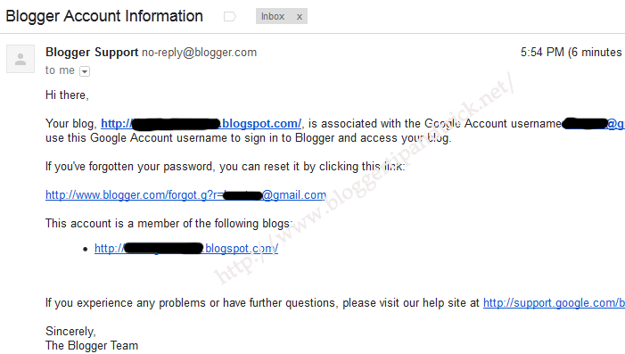Blogger Account Information email