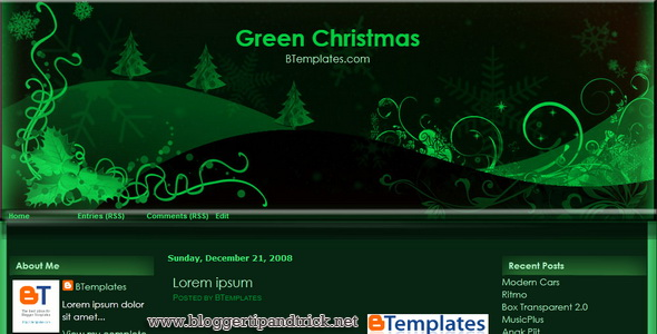 Green - Christmas Blogger Template