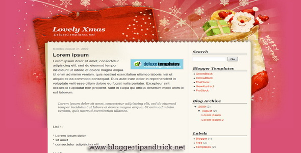 Lovely Xmas Blogger Template