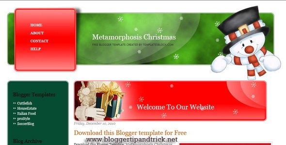 Metamorphosis Christmas Blogger Template