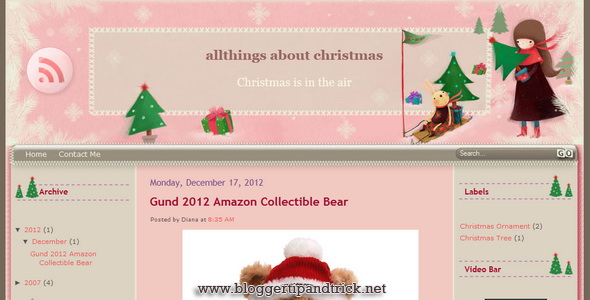 Pinky Christmas Blogger Template