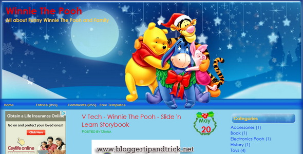 Winnie in Christmas Blogger Template