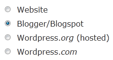 Choose Site Type as Blogger