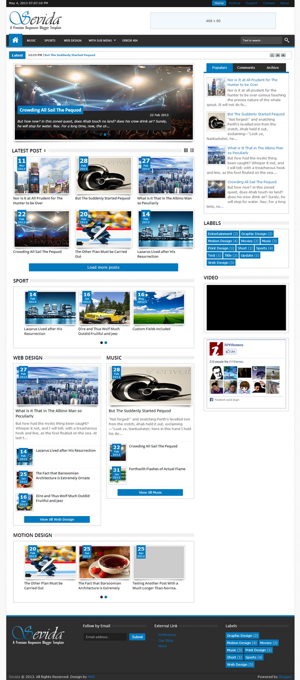 Sevida Blogger Theme