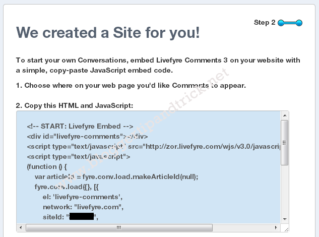 Livefyre Comments Install-Step 5