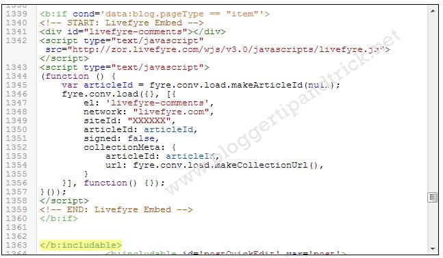 Livefyre Comment Install-Step 9