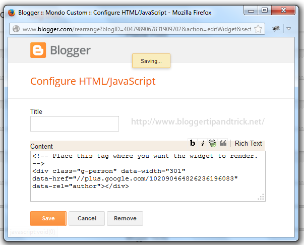 Add Googleplus Profile Code to HTML-JavaScript Box