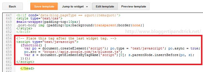 Add Googleplus Profile Code to Header