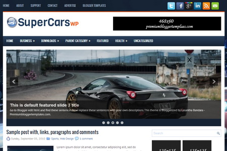 SuperCarsWp Blogger Template