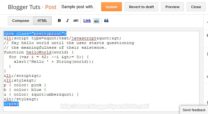 Add Source Code to Post Editor HTML