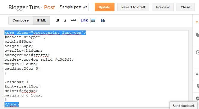 Prettify Add CSS Codes