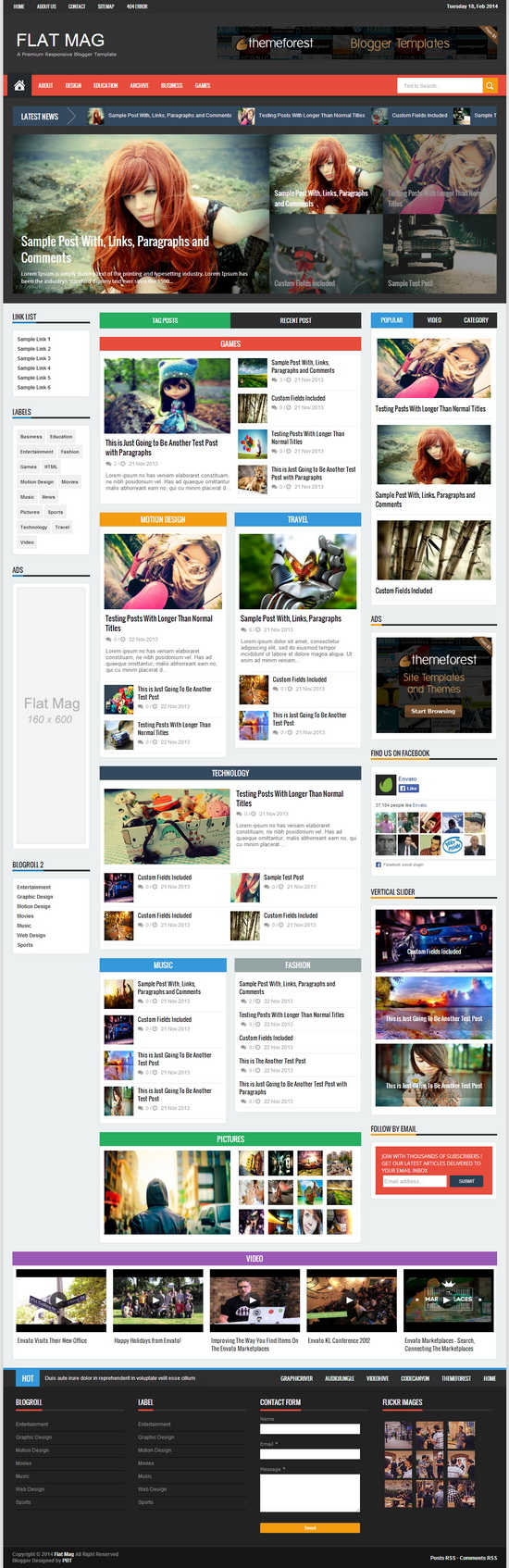 Flat Mag - Responsive Magazine Blogger Template | Blogger Tips and ...