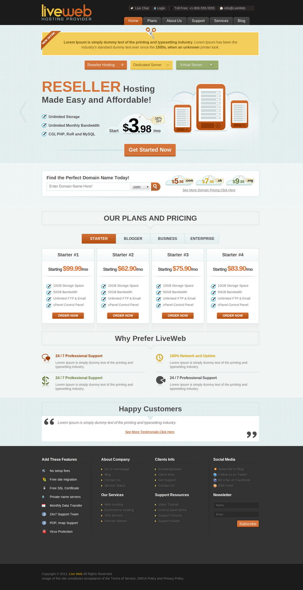 LiveWeb - WP Web Hosting Template