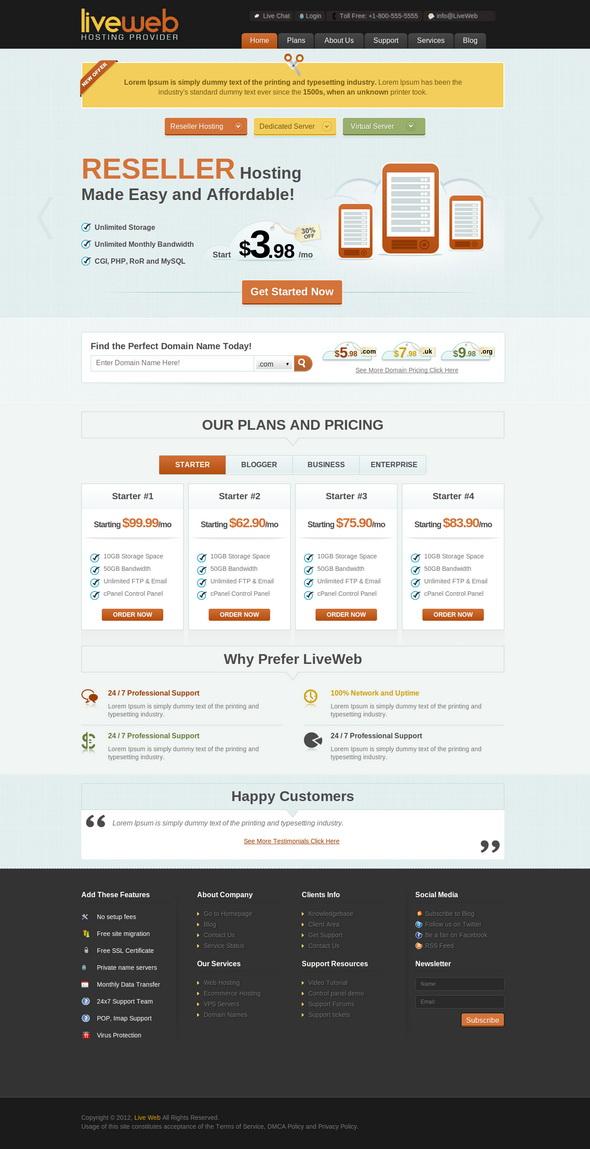 LiveWeb - WP Web Hosting Template