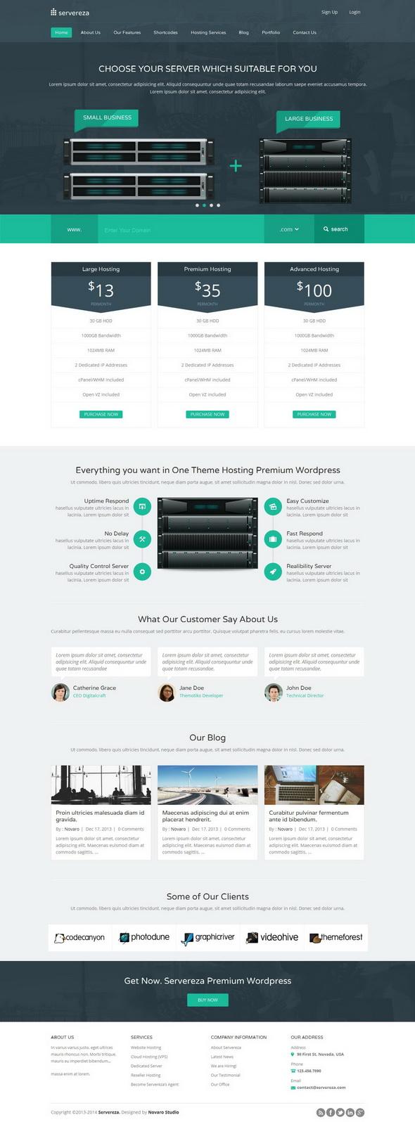 Servereza - Responsive Hosting WordPress Theme