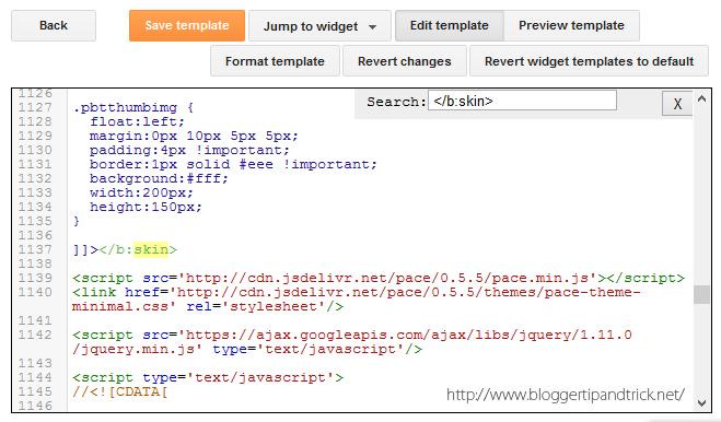 Add Pace-js Progress Loading Bar to Blogger