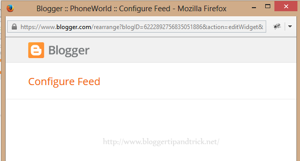 Broken Feed Widget in Blogger