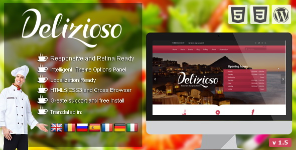 Delizioso - Restaurant Responsive WordPress Theme