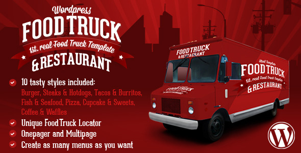 Food Truck & Restaurant 10 Styles - WP Theme