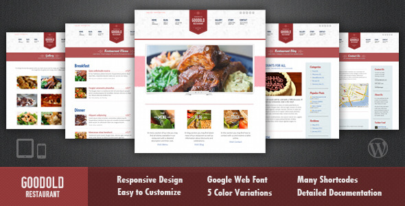 Goodold Restaurant - Responsive WordPress Theme