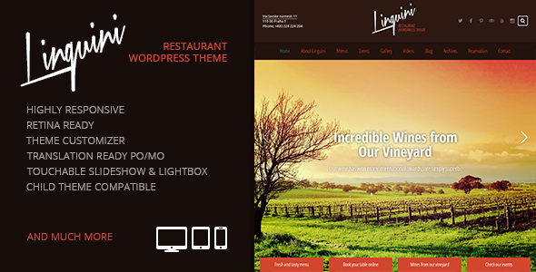 Linguini- Restaurant Responsive WordPress Theme