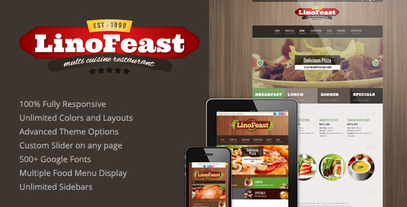 LinoFeast - Restaurant Responsive WordPress Theme