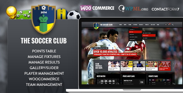 Soccer Club - Sports & Events News WP Theme