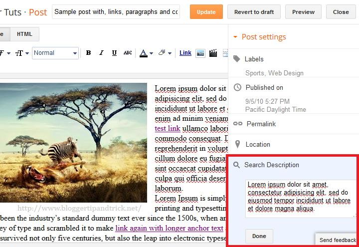 Add Meta Description to Blogger Post