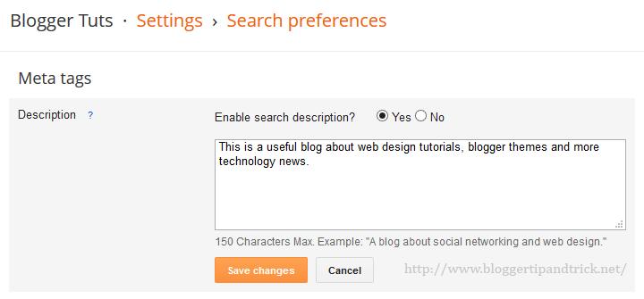 Add Meta Description to Blogger