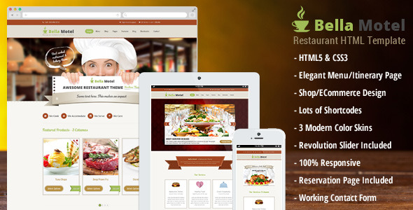 Bella Motel - Restaurant & Bakery Responsive Theme