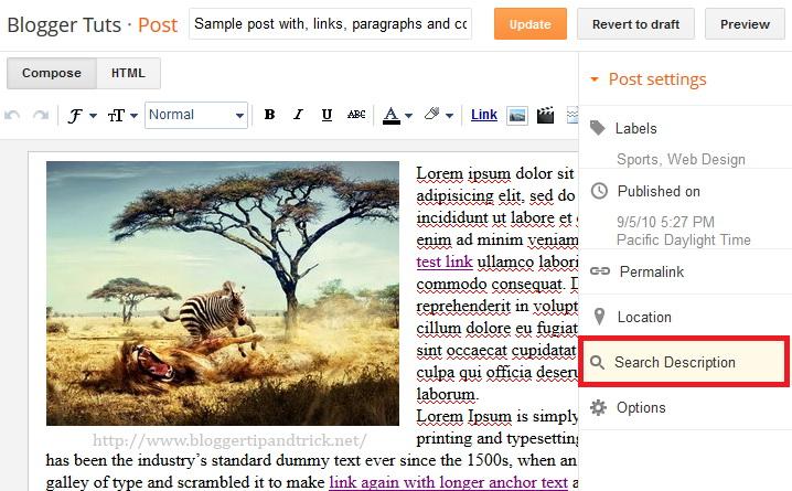Blogger Search Description Setting