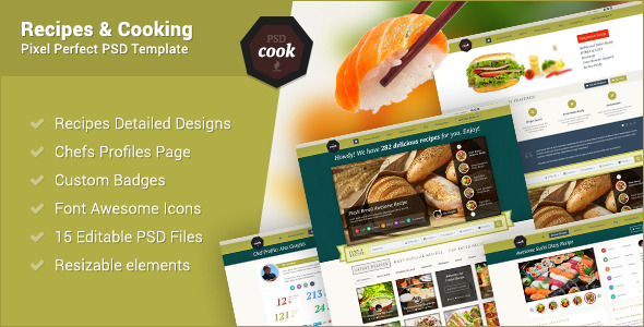 PSDCook - Recipes & Cooking PSD Design