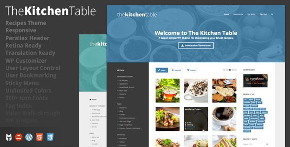 The Kitchen Table -Responsive Recipes WordPress Theme