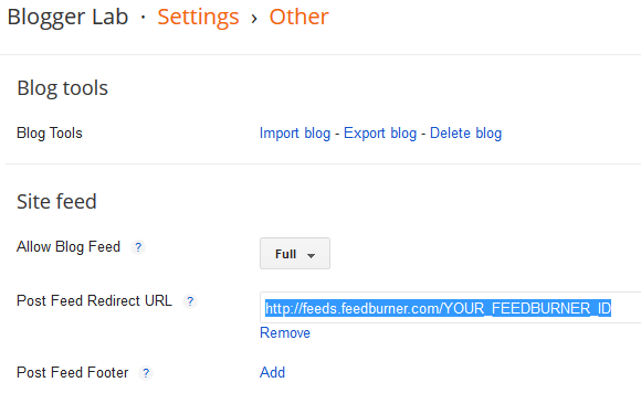 Add Feedburner URL to Blogger