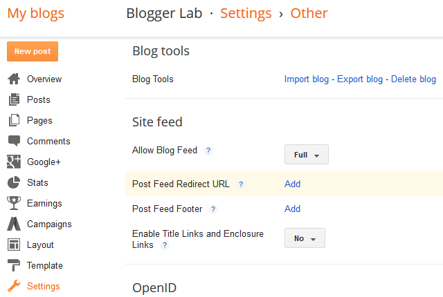 Blogger Post Feed Settings
