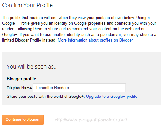 Confirm Your Blogger Profile