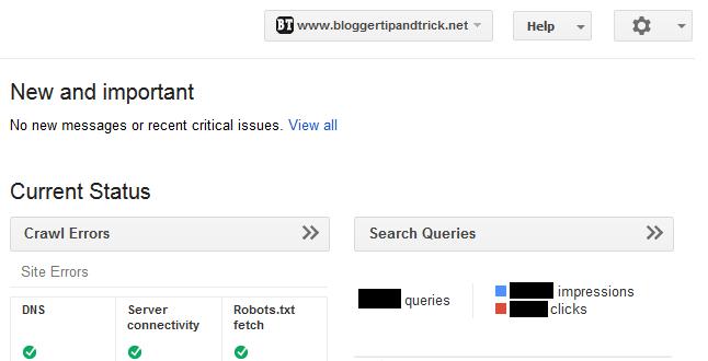 Site Dashboard - Google Webmaster Tools