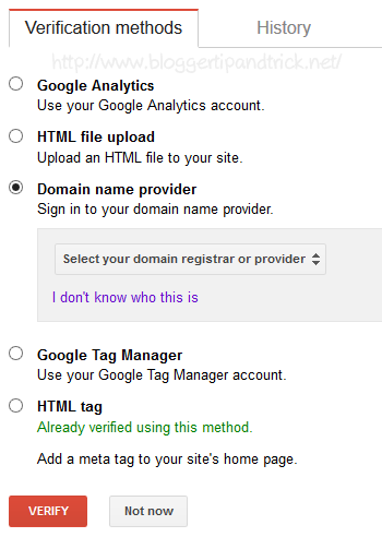 Verification Methods - Google Webmaster Tools